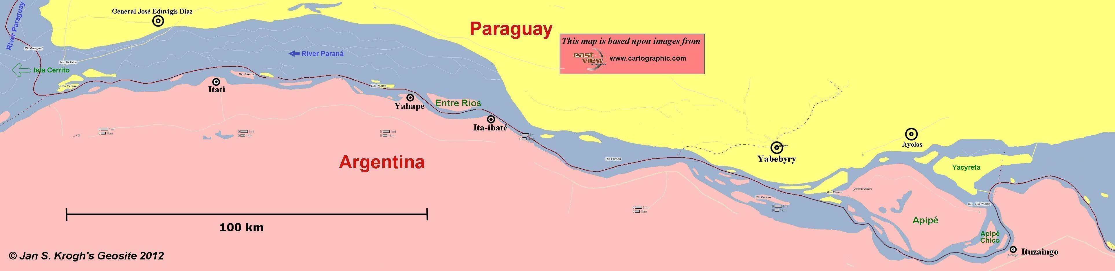 Jan S Kroghs Geosite Apipe Islands And Entre Rios Island - Parana river map