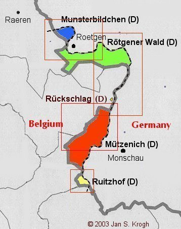 five exclaves created by the territory of a former belgian railway track that cuts into german territory between the german towns of rtgen and monschau