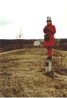 My daughter Severia (8) at the highest point of Lithuania, Juozapines hill.